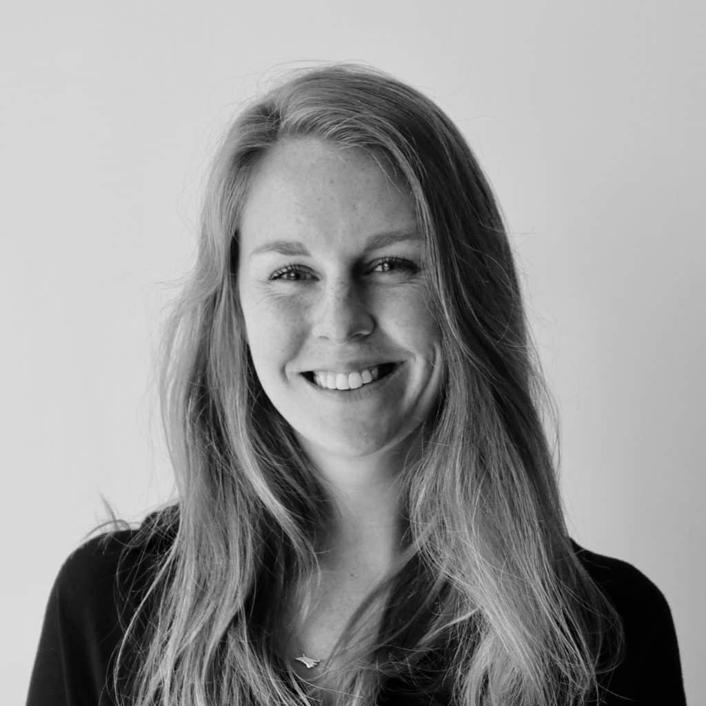 A black and white photo of Leah McCann